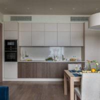 Дизайн кухни-гостиной в пастельных тонах