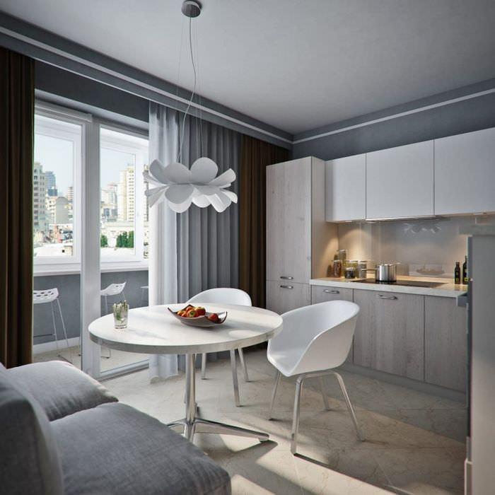 Дизайн кухни с серым потолком и подсветка рабочей зоны
