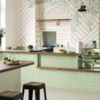 Моющиеся обои в дизайне стен кухни