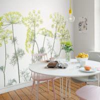 Рисунки растений в интерьере кухни