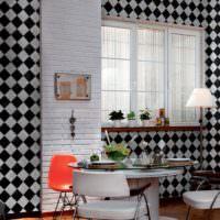 Обои с ромбами на стенах кухни