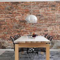 Старая кирпичная стена на кухне в стиле лофт