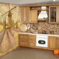 Обои в дизане кухни деревенского стиля