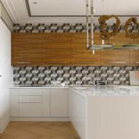 Абстрактные обои в дизайне кухонных стен