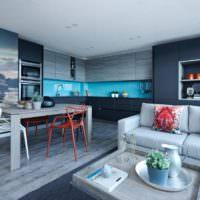 Дизайн стен кухни в синих тонах