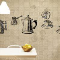 Стена на кухне с моющимися обоями