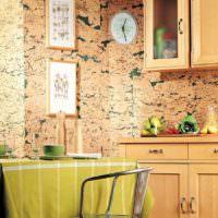 Имитация натурального камня обоями на стене кухни