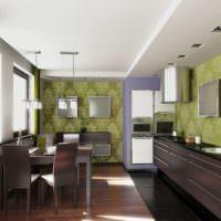 Фото кухни с обоями на стенах