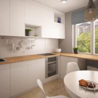 Светло-серые фасады кухонного гарнитура в однокомнатной квартире