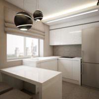 Обеденный стол на кухне однокомнатной квартиры