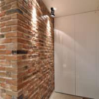 Декоративная подсветка кирпичной стенки в прихожей лофт