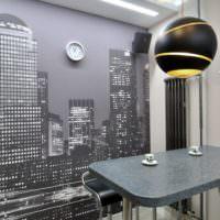 Дизайнерские светильники и барная стойка в однокомнатной квартире