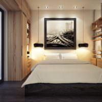 Подсветка изголовья кровати в однокомнатной квартире с помощью бра