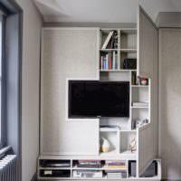 Комбинированная мебель в дизайне однокомнатной квартиры