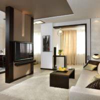 Телевизор на перегородке в квартире-студии