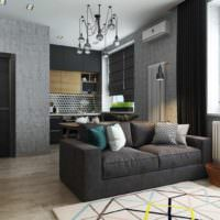 Однокомнатная квартира 40 кв метров в темных тонах