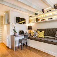 Потолочные балки в интерьере однокомнатной квартиры