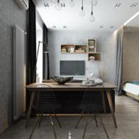 Модульные полки на стене кухни-столовой в однушке