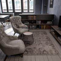 Преобладание серых оттенков в дизайне однокомнатной квартиры панельного дома