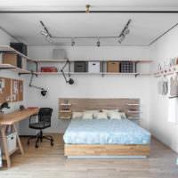 Отделение шторами спальни от гостиной в однокомнатной квартире