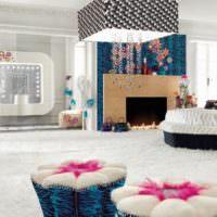 Декорирование интерьера гостиной яркими акцентами
