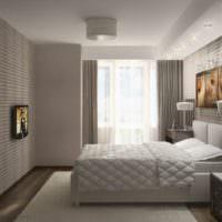 Спальня в серых тонах в жилом доме