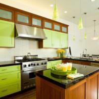 Зеленый цвет в дизайне кухонного помещения