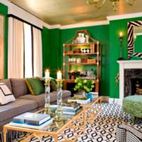 Зеленый цвет в интерьере гостиной комнаты