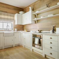 Отделка стен деревом в интерьере кухни