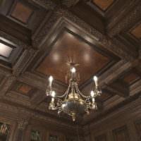 Потолок из дерева в классическом стиле