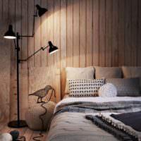 Вагонка в отделке стен спальной комнаты