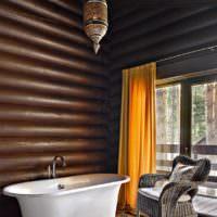 Блок-хаус в интерьере ванной комнаты