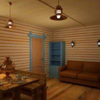 Блок-хаус в интерьере жилой комнаты частного дома
