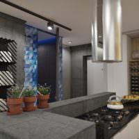 Кухня в серых тонах в квартире-студии