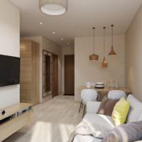 Интерьер узкой комнаты в однушке панельного дома