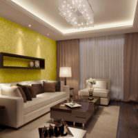 Подсветка потолка в дизайне гостиной комнаты