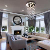 Современный дизайн просторной гостиной