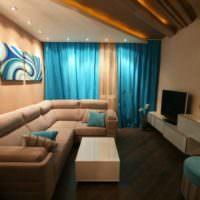 Акценты синего цвета в современном дизайне гостиной