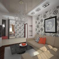 Черный и бежевый цвета в дизайне гостиной