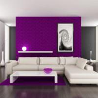 Сочетание фиолетового с белым в дизайне гостиной