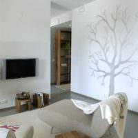 Изображения деревьев в оформлении гостиной