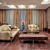 Бархатная отделка мягкой мебели в гостиной