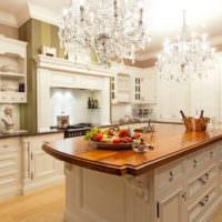Кухонный остров со столешницей из массива древесины