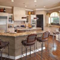 Барная стойка на кухне-гостиной жилого дома