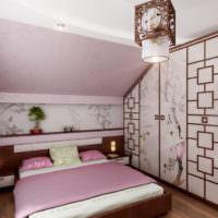 Оформление интерьера спальни в мансарде