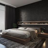 Темные оттенки в интерьере мужской спальни