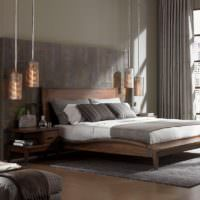 Светильники на подвесах в дизайне спальни