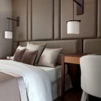 Дизайнерские светильники на стене спальни