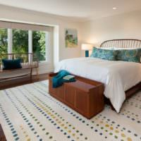 Ковер в дизайне спальни загородного дома