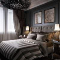 Светильники на прикроватных тумбочках в интерьере спальни